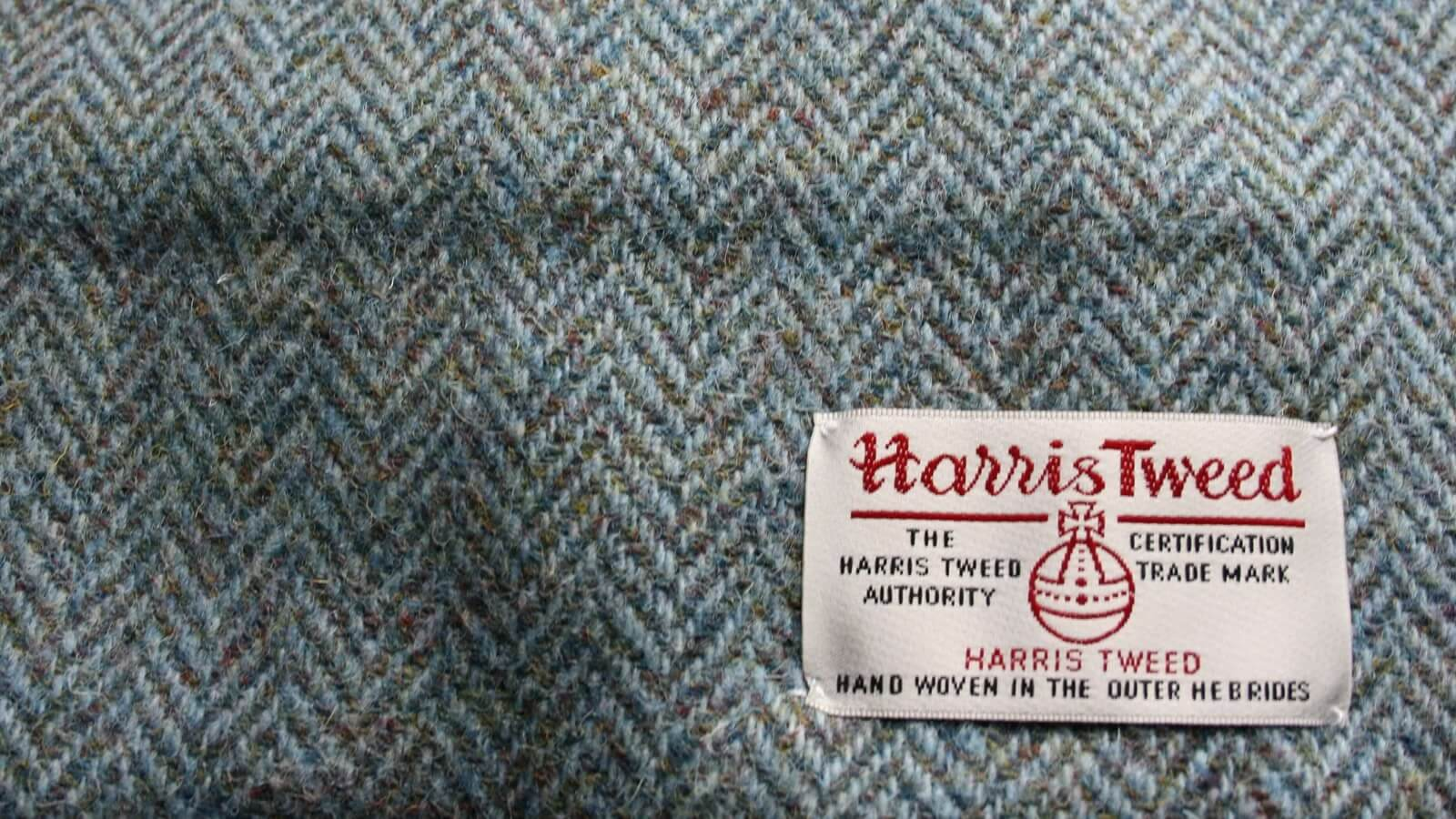 Harris Tweed soft furnishings at holiday cabin, Skye
